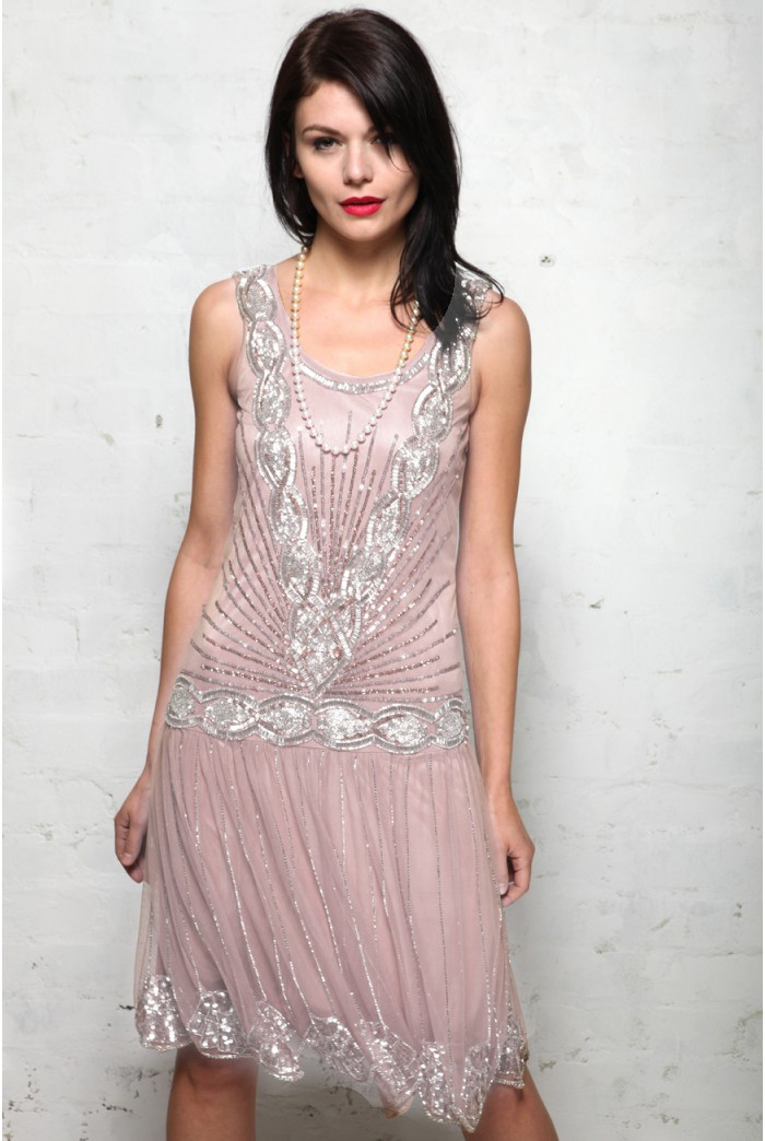 1920s Style Dresses, Flapper Dresses Pink Embellished Flapper Dress £80.00 AT vintagedancer.com