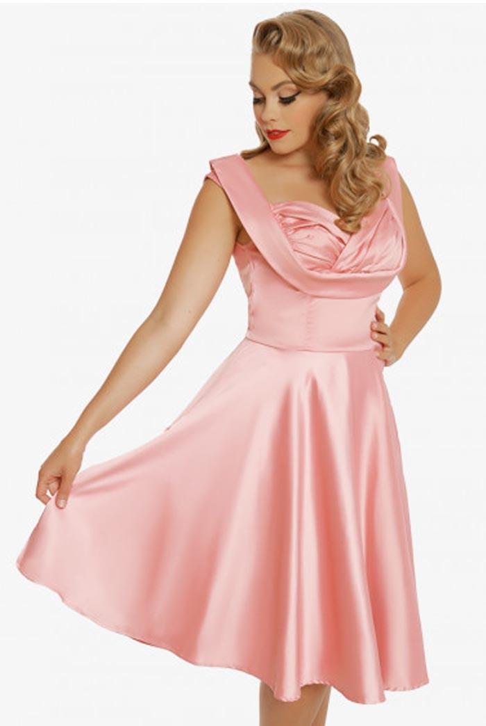 Vintage Evening Dresses and Formal Evening Gowns Pink Prom Dress £38.00 AT vintagedancer.com