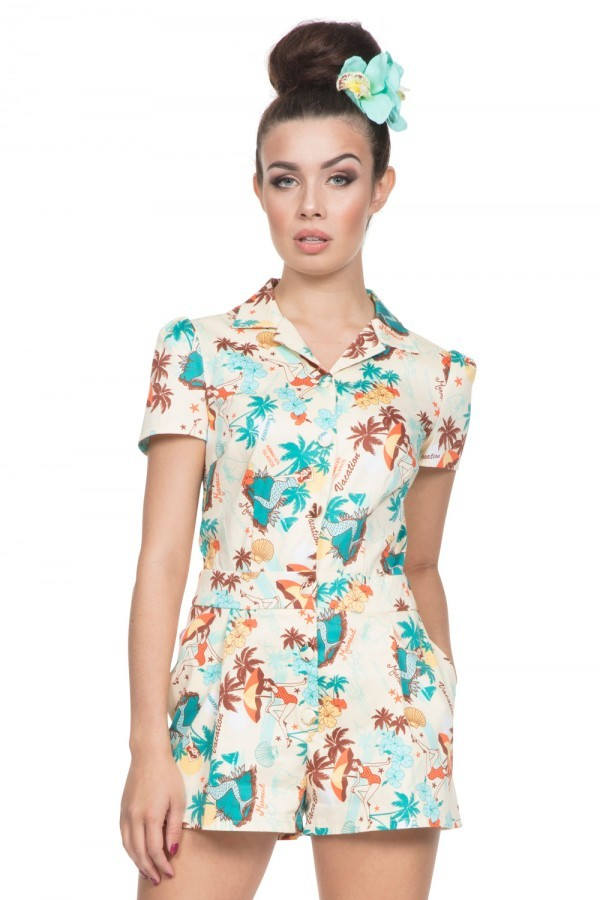 Retro Tiki, Tropical, Hawaiian Style Dresses Hawaiian Print Playsuit £42.00 AT vintagedancer.com