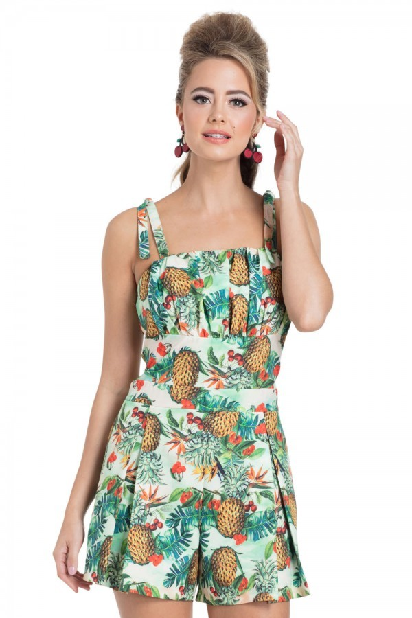 Vintage Rompers | Retro, Pin Up, Rockabilly Playsuits Pineapple Playsuit £42.00 AT vintagedancer.com