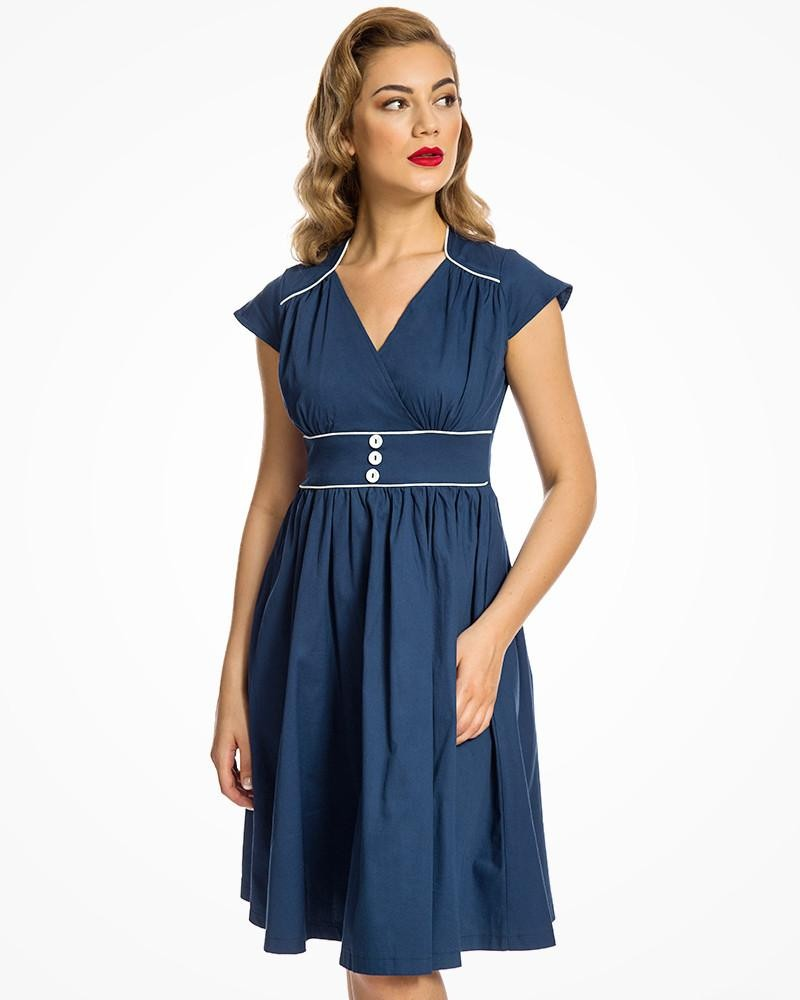 Vintage Cruise Outfits, Vacation Clothing Royal Blue Swing Dress �35.00 AT vintagedancer.com