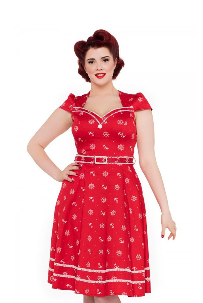 1950s Swing Dresses | 50s Swing Dress Red Nautical Prom Dress £35.00 AT vintagedancer.com