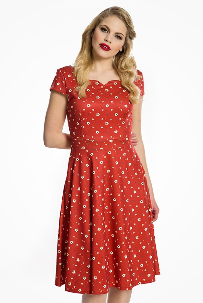 Polka Dot Dresses: 20s, 30s, 40s, 50s, 60s Red Daisy Print Dress £35.00 AT vintagedancer.com
