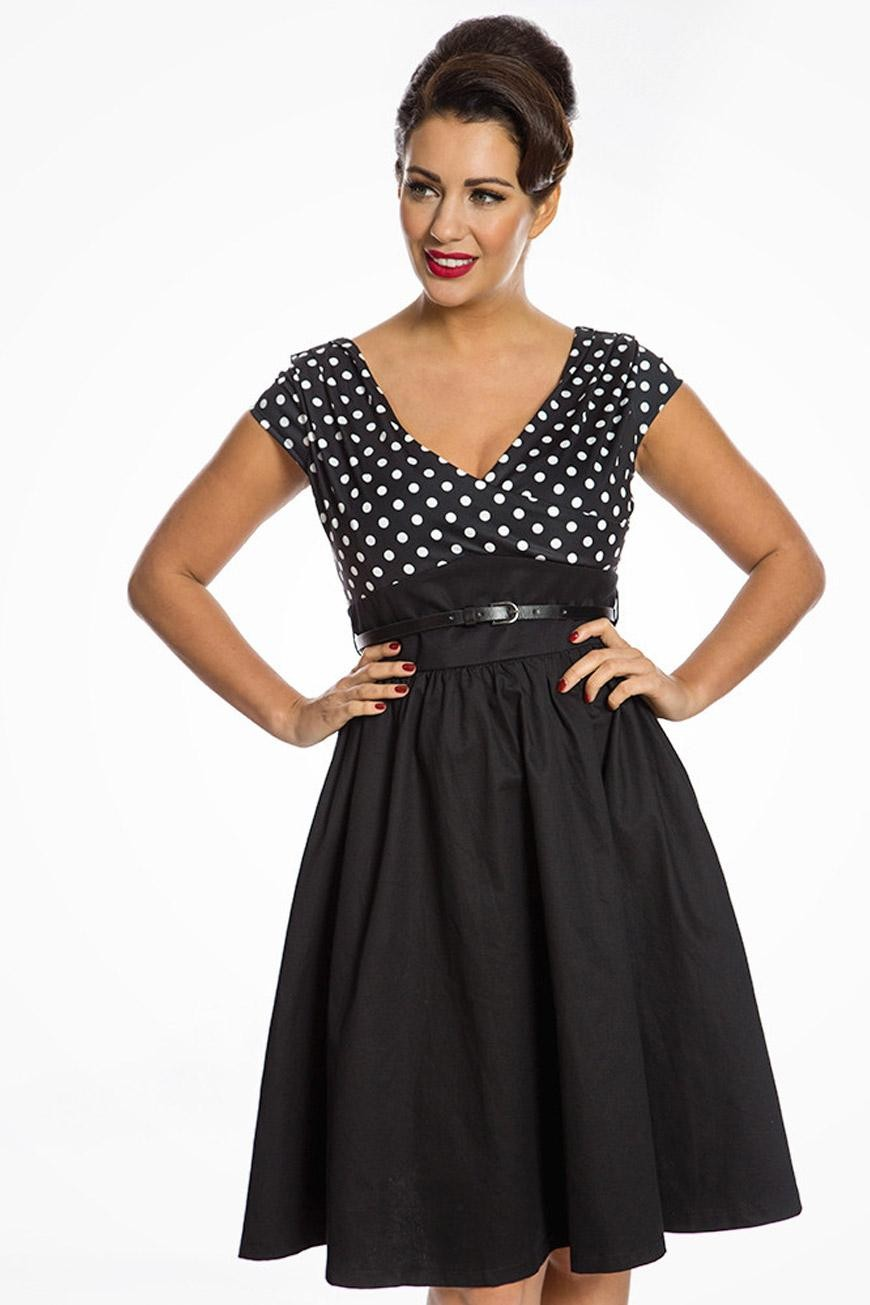Polka Dot Dresses: 20s, 30s, 40s, 50s, 60s Black Polka Dot Swing Dress £40.00 AT vintagedancer.com