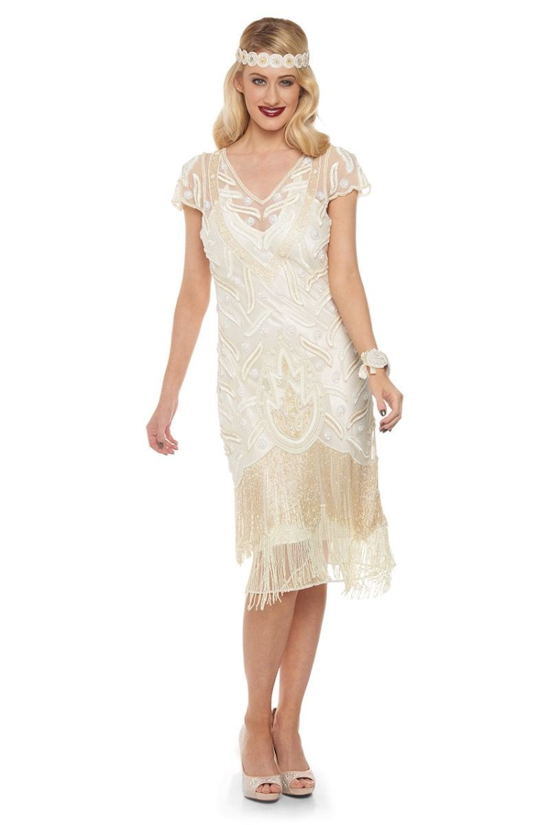 1920s Style Dresses, Flapper Dresses Cream Fringed Flapper Dress £139.00 AT vintagedancer.com