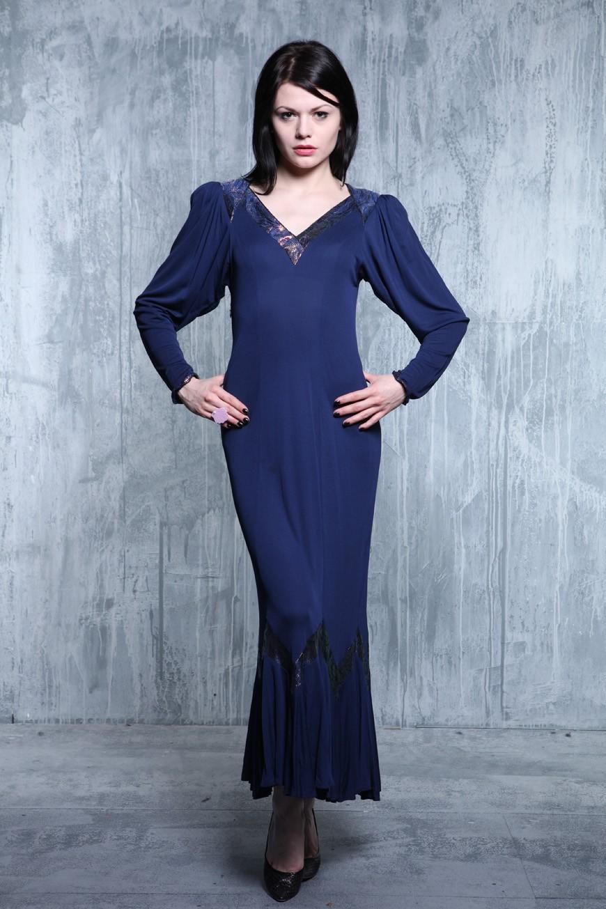 1920s Downton Abbey Dresses Vintage Blue Midi Dress £40.00 AT vintagedancer.com