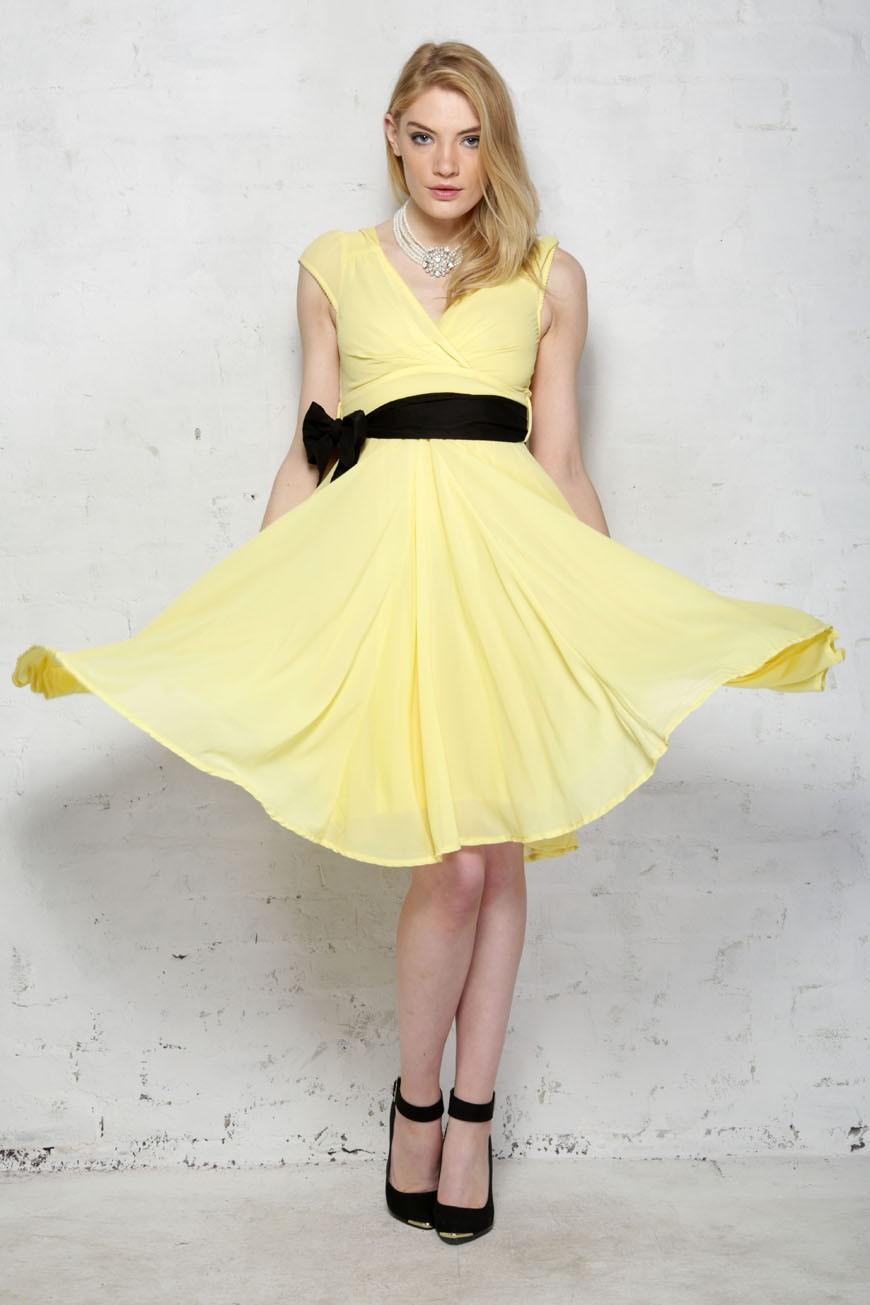 50s Dresses UK | 1950s Dresses, Shoes & Clothing Shops Eucalyptus Yellow Prom Dress £35.00 AT vintagedancer.com
